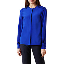 Buy Hobbs Mae Ruffle Detail Silk Blouse, Cobalt Online at johnlewis.com