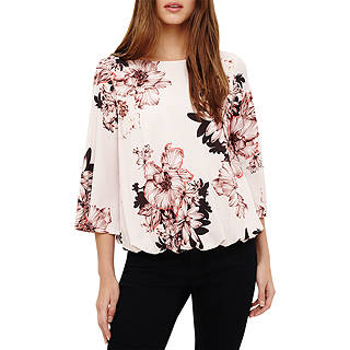Phase Eight Thea Floral Print Top, Cream