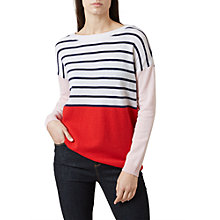 Buy Hobbs Sofia Wool Rich Striped Jumper, Ivory/Multi Online at johnlewis.com
