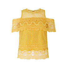 Buy Coast Fabron Lace Top, Yellow Online at johnlewis.com