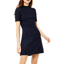 Buy Warehouse High Neck Boucle Dress, Navy Online at johnlewis.com