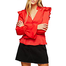 Buy Miss Selfridge Ruffle Blouse, Red Online at johnlewis.com