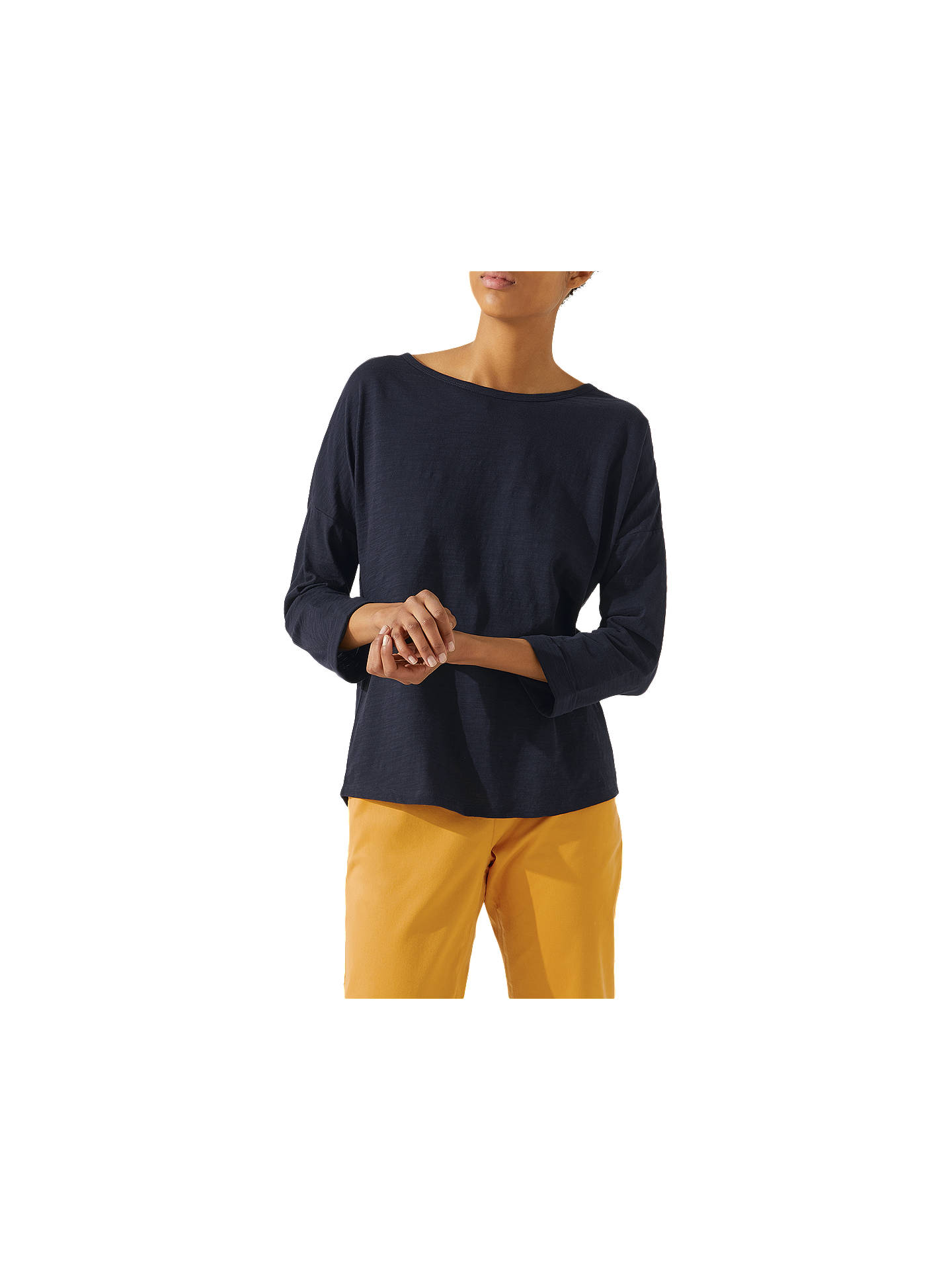 BuyJigsaw Cotton Slub T-Shirt, Navy, XS Online at johnlewis.com