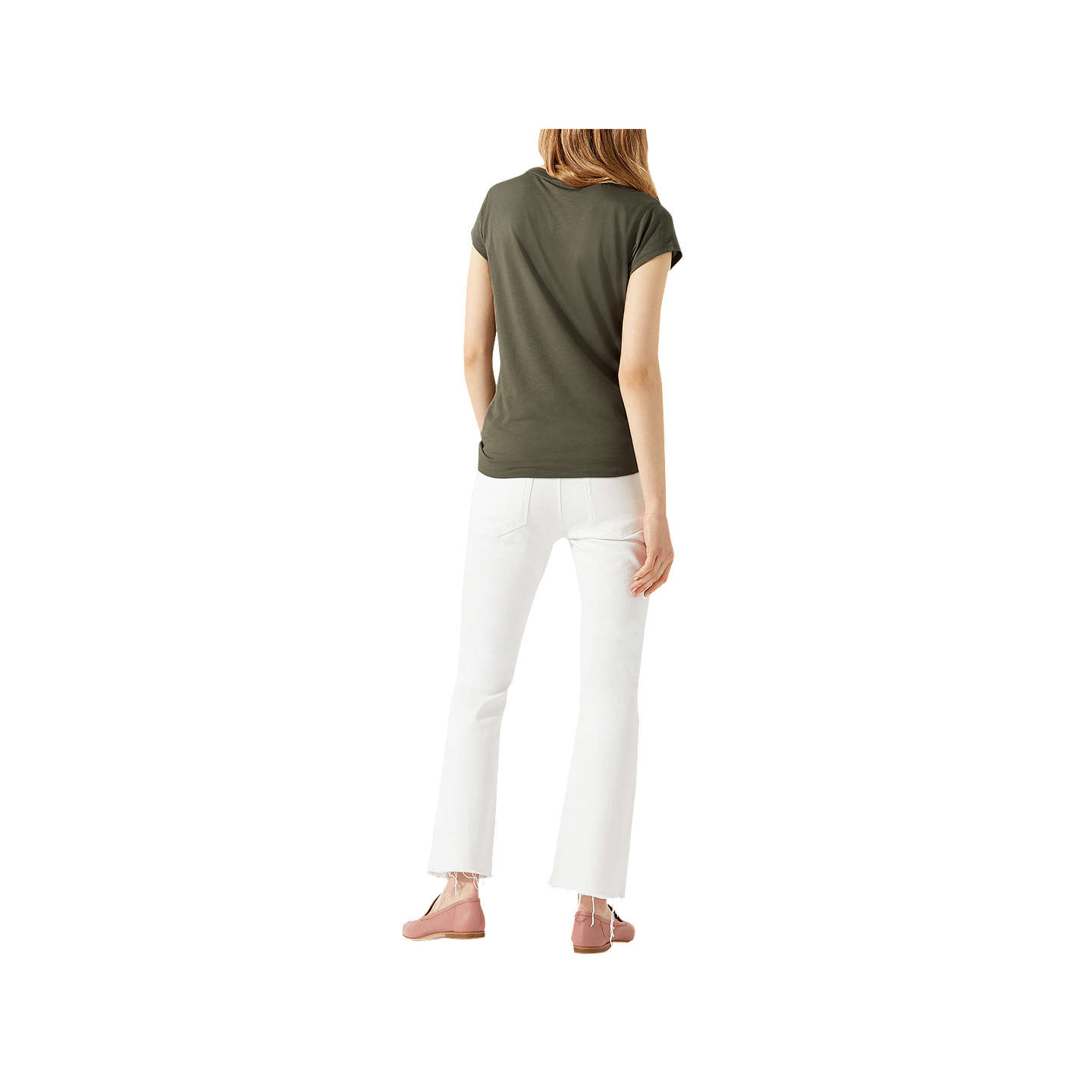 BuyJigsaw Pima Cotton Blend T-Shirt, Khaki, XS Online at johnlewis.com