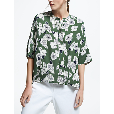 Kin by John Lewis Floral Oversized Top, Khaki