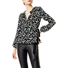 Buy Karen Millen Floral Print Wrap Blouse, Black/Multi Online at johnlewis.com