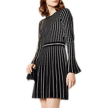 Buy Karen Millen Stripe Knitted Dress, Black/Ivory Online at johnlewis.com