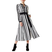 Buy Karen Millen Graphic Stripe Midi Dress, Black/White Online at johnlewis.com