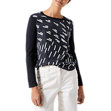 Buy Jigsaw Graphic Print Silk Front Jumper, Navy Online at johnlewis.com