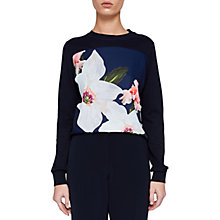 Buy Ted Baker Jiosefi Chatsworth Woven Front Jumper, Navy Online at johnlewis.com