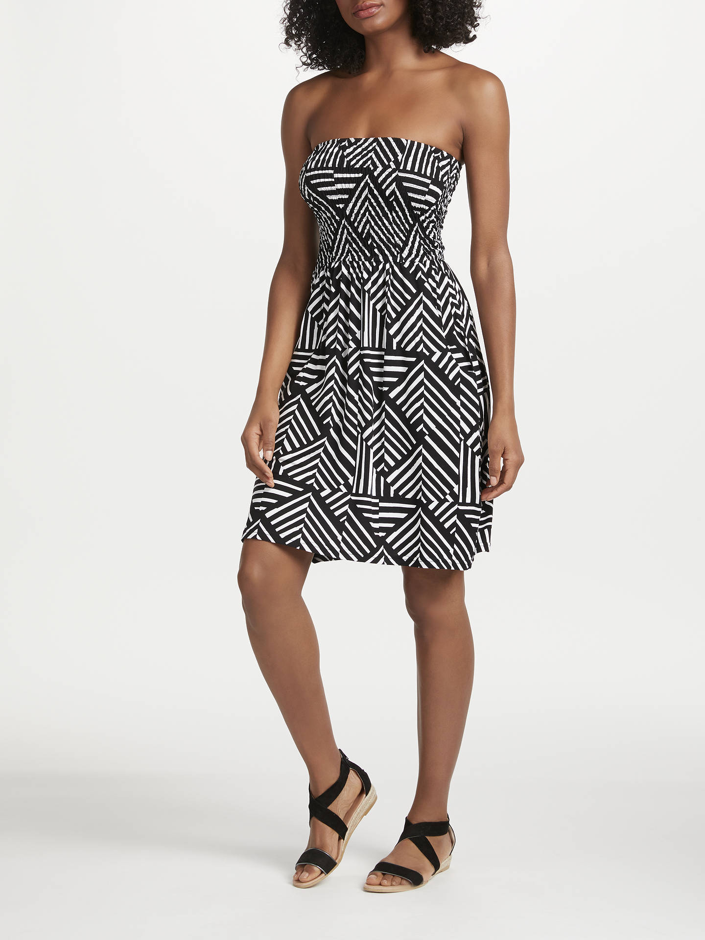 BuyJohn Lewis & Partners Diamond Geo Print Bandeau Jersey Dress, Black/Multi, M Online at johnlewis.com