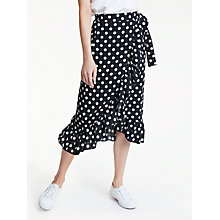 Buy Y.A.S Polka Wrap Skirt, Black/White Online at johnlewis.com