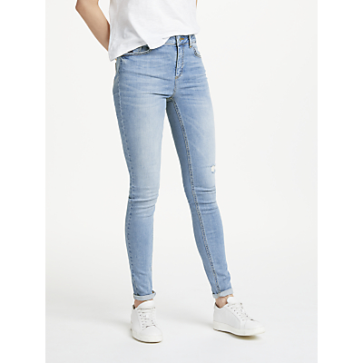 Pieces Five Delly Mid Rise Skinny Jeans, Medium Blue
