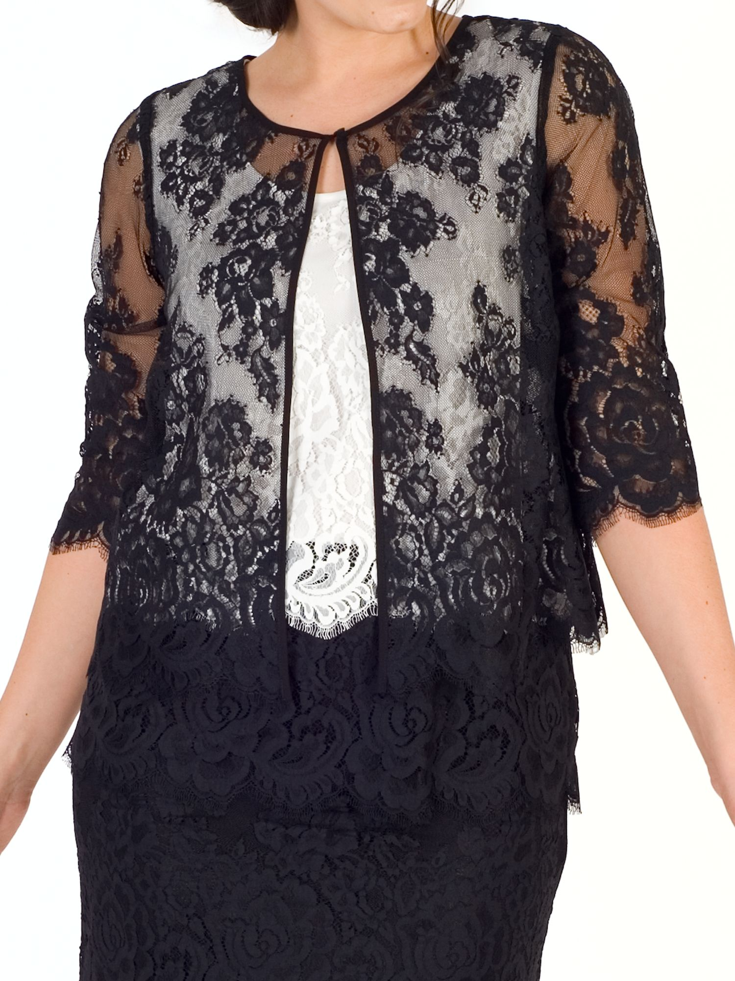 Chesca Chesca Scallop Trim Lace Jacket, Black