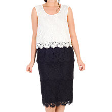 Buy Chesca Scallop Trim Tiered Lace Dress, Black/White Online at johnlewis.com