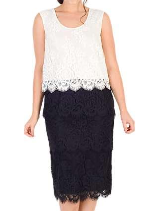 Chesca Scallop Trim Tiered Lace Dress, Black/White