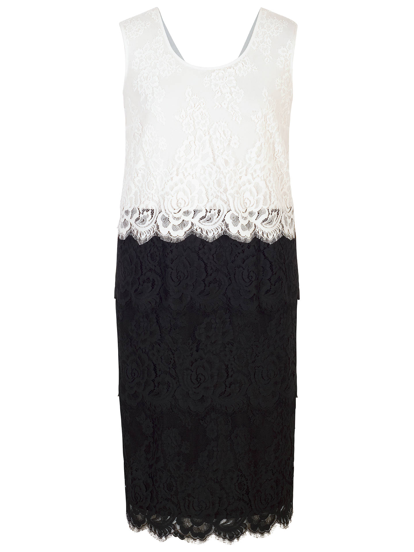BuyChesca Scallop Trim Tiered Lace Dress, Black/White, 12 Online at johnlewis.com