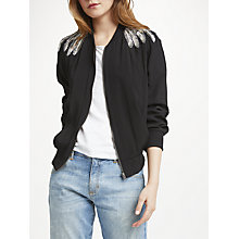 Buy Uzma Bozai Lana Embellished Bomber Jacket, Black Online at johnlewis.com