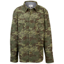 Buy Fat Face Boys' Newton Camo Print Shirt, Khaki Online at johnlewis.com