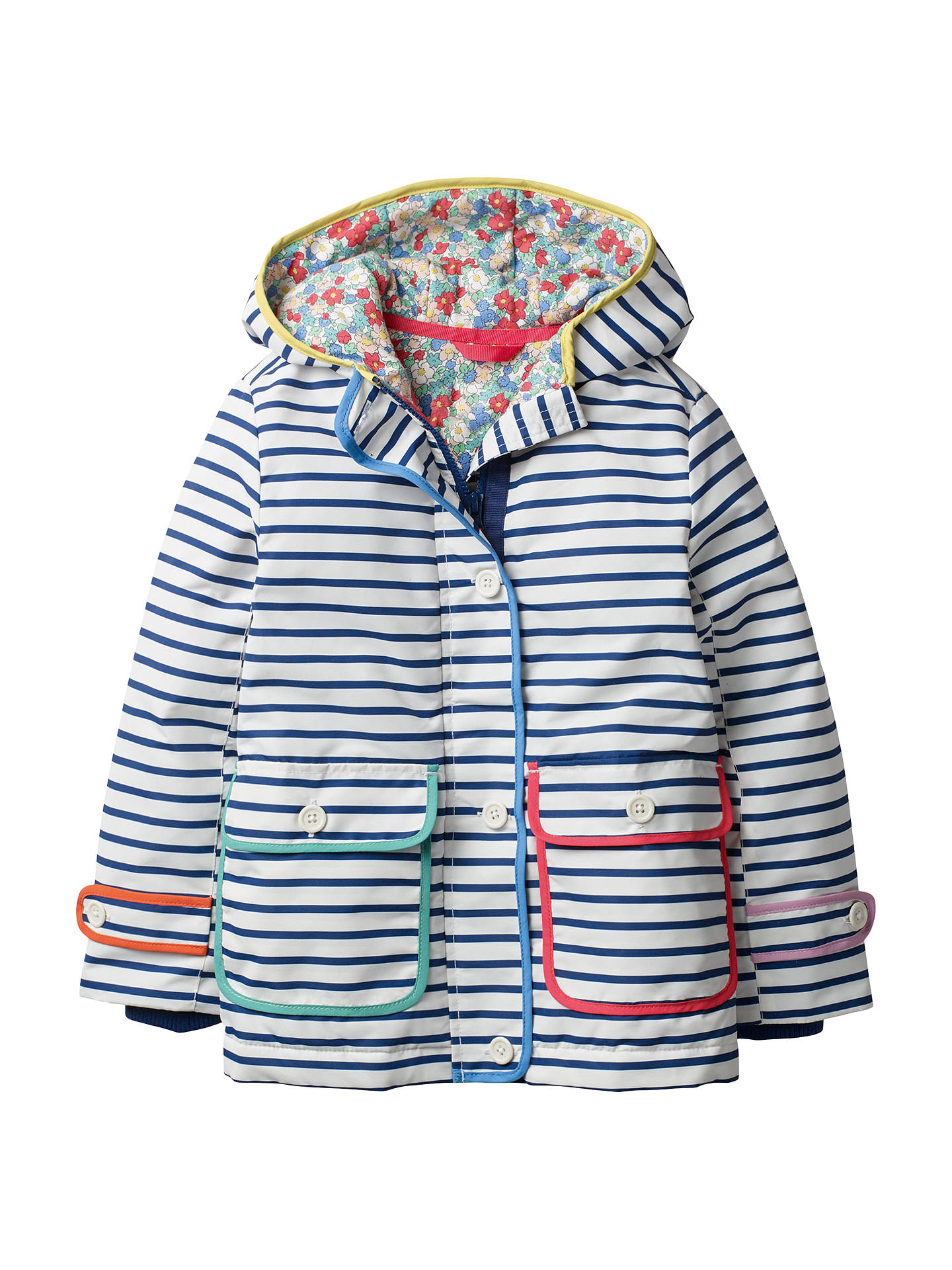 a8ba2a4a847b9 Mini Boden Girls' Printed Anorak Coat, Navy at John Lewis & Partners