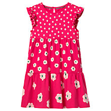 Buy Mini Boden Girls' Tiered Floral Print Jersey Dress, Pink Online at johnlewis.com