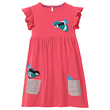 Buy Mini Boden Girls' Bird Applique Pocket Dress, Pink Online at johnlewis.com