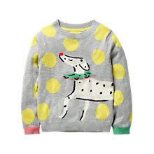 Buy Mini Boden Girls' Fun Dog Jumper, Grey Online at johnlewis.com