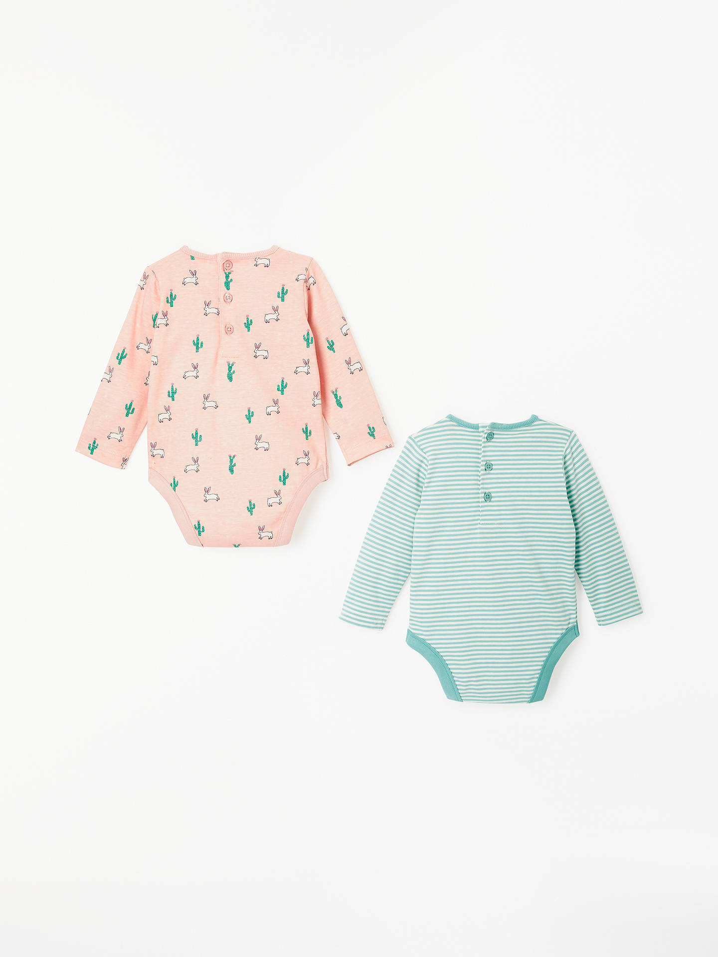7e1d357ce ... Buy John Lewis & Partners Baby Cactus and Bunny Long Sleeve Bodysuit,  Pack of 2 ...