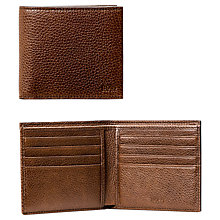 Buy BOSS Traveller Italian Grained Leather Card Wallet, Brown Online at johnlewis.com