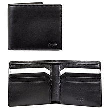 Buy BOSS Subway Smooth Leather Card Wallet, Black/White Online at johnlewis.com