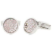 Buy Simon Carter for John Lewis Archive Spiral Mother of Pearl Cufflinks, Silver Online at johnlewis.com
