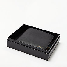 Buy Paul Smith Geometric Mini Interior Print Leather Wallet, Black Online at johnlewis.com