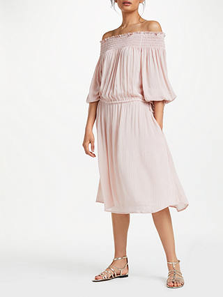 Buy AND/OR Monique Metallic Sparkle Stripe Dress, Desert Pink/Gold Stripe, 8 Online at johnlewis.com