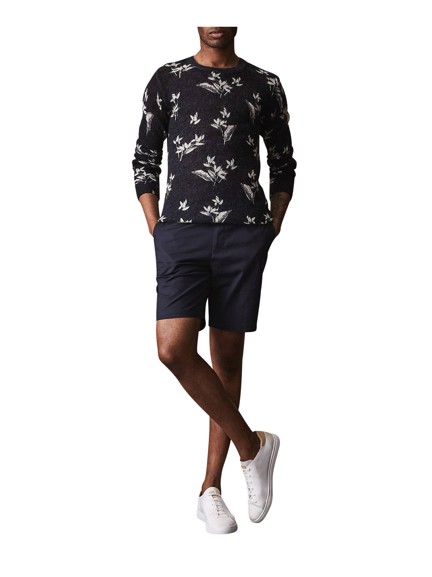 BuyReiss Wicker Tailored Chino Shorts, Navy, 28R Online at johnlewis.com