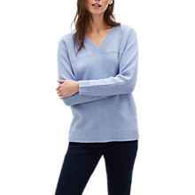 Buy Jaeger Wool Rich V-Neck Sweater, Blue Online at johnlewis.com