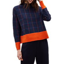 Buy Jaeger Merino Wool Cropped Sweater, Navy/Check Online at johnlewis.com