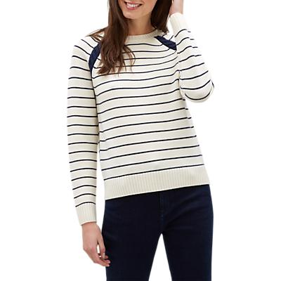 Jaeger Breton Stripe Sweater, Navy/Stripe