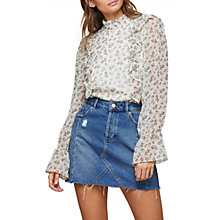 Buy Miss Selfridge High Neck Frill Ditsy Blouse, Multi Online at johnlewis.com