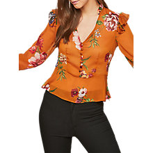 Buy Miss Selfridge Cinnamon Floral Print Button Blouse, Multi Online at johnlewis.com