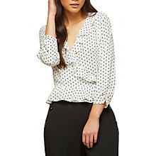 Buy Miss Selfridge Spot Ruffle Wrap Blouse, Ivory Online at johnlewis.com