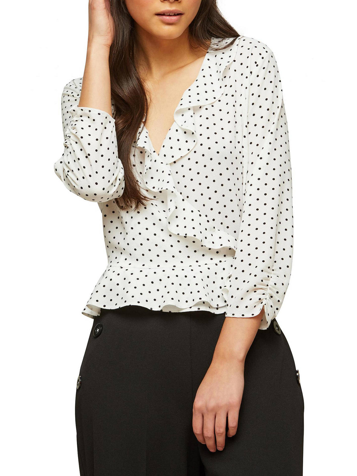 981df937db5bcd Buy Miss Selfridge Spot Ruffle Wrap Blouse, Ivory, 6 Online at  johnlewis.com ...