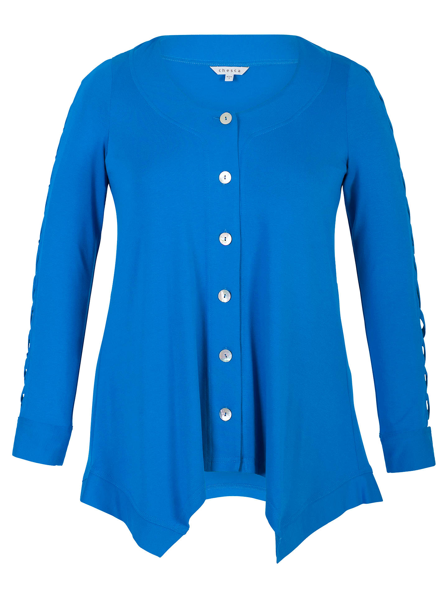 Buy Chesca Criss Cross Sleeve Button Tunic, Azure, 20-22 Online at johnlewis.com