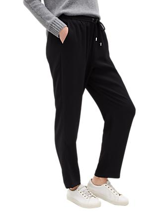 Jaeger Crepe Drawstring Trousers, Black