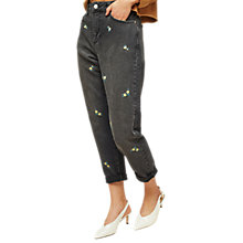 Buy Miss Selfridge Ditsy Embroidered Mom Jeans, Black Online at johnlewis.com