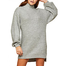 Buy Miss Selfridge Funnel Neck Tunic Jumper, Grey Online at johnlewis.com