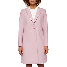 Buy Ted Baker Emilio Collarless Wool Blend Coat, Dusky Pink Online at johnlewis.com