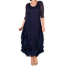 Buy Chesca Chiffon Flounce Trimmed Dress, Navy Online at johnlewis.com