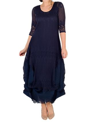 Chesca Chiffon Flounce Trimmed Dress, Navy