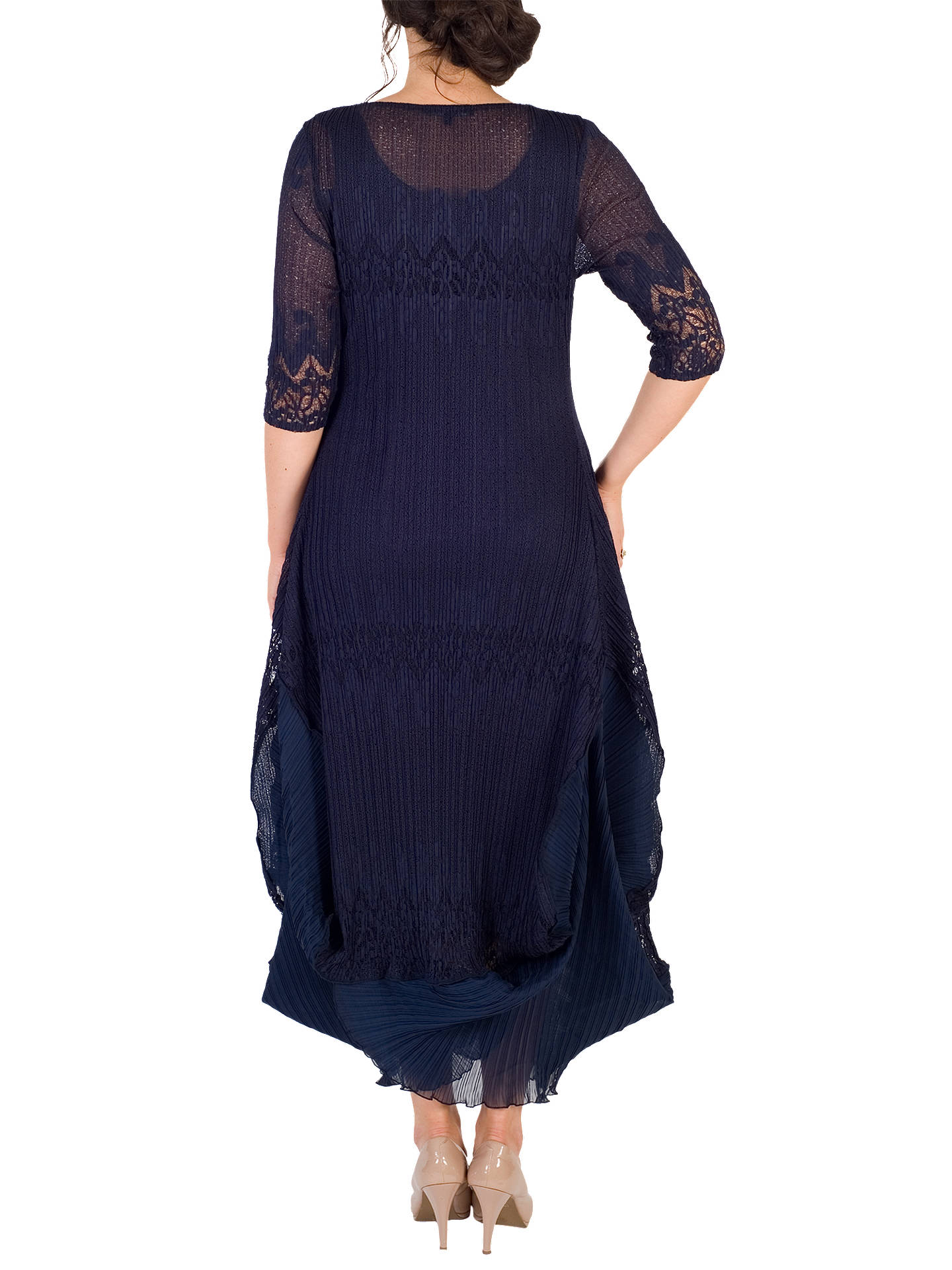 BuyChesca Chiffon Flounce Trimmed Dress, Navy, 12-14 Online at johnlewis.com