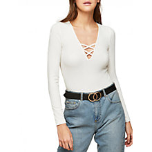 Buy Miss Selfridge Long Sleeve Lattice Top, Ivory Online at johnlewis.com